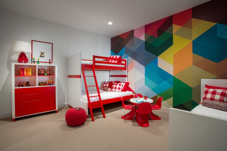 Colorful Accent Wall Design For Kids