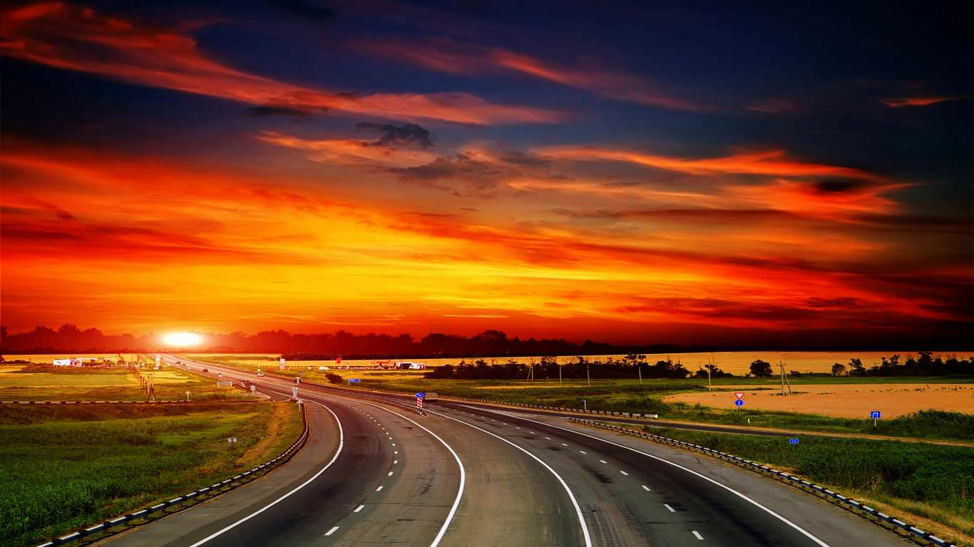 Road Side Sunset background