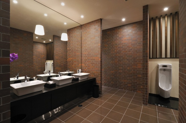 commercial masculine bathroom design