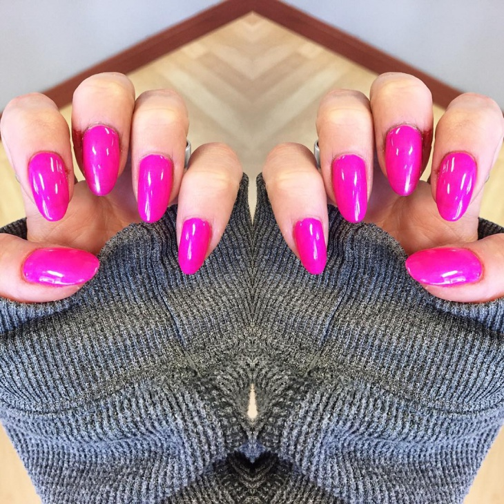 Pretty Pink Gel Nail Design on Pointy Nails