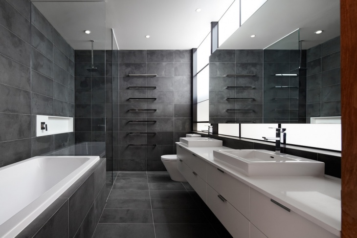 grey wall and floor tiles bathroom idea