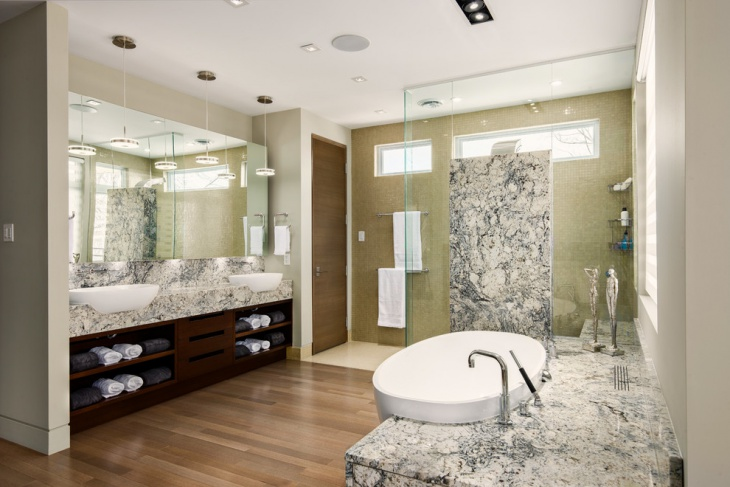 commercial bathroom with marble tiles