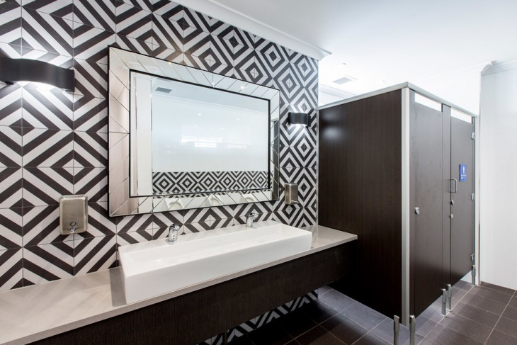black and white commercial bathroom