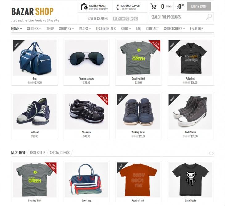 bazar shop ecommerce theme