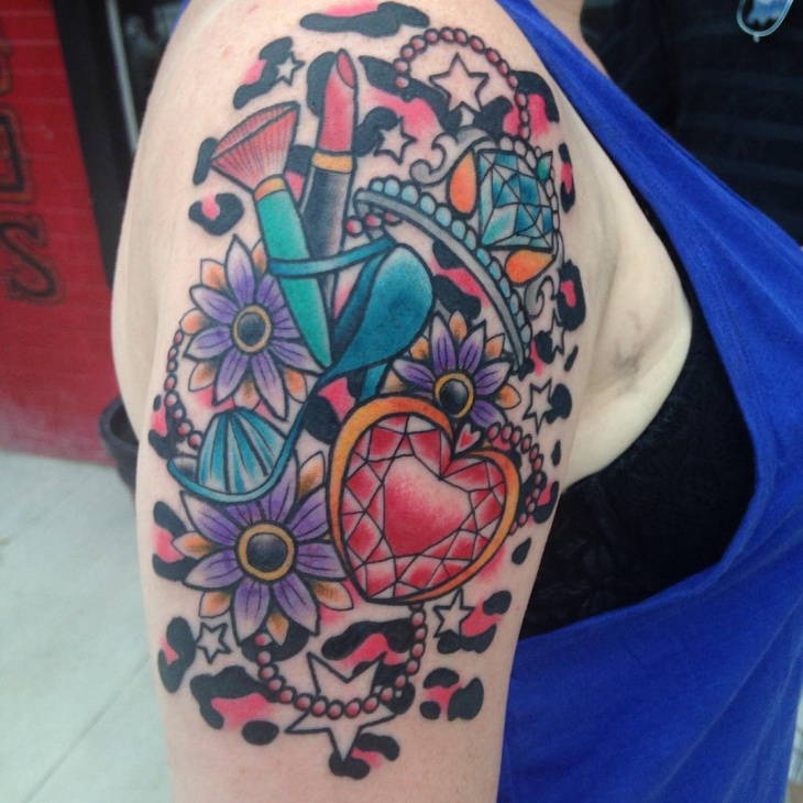 Heart Diamond Sleeve Tattoo