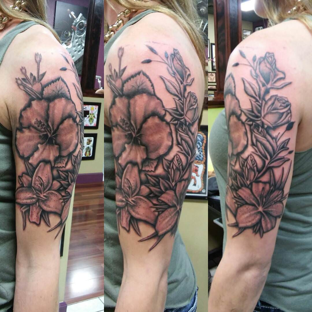 Amazing Flower Sleeve Tattoo