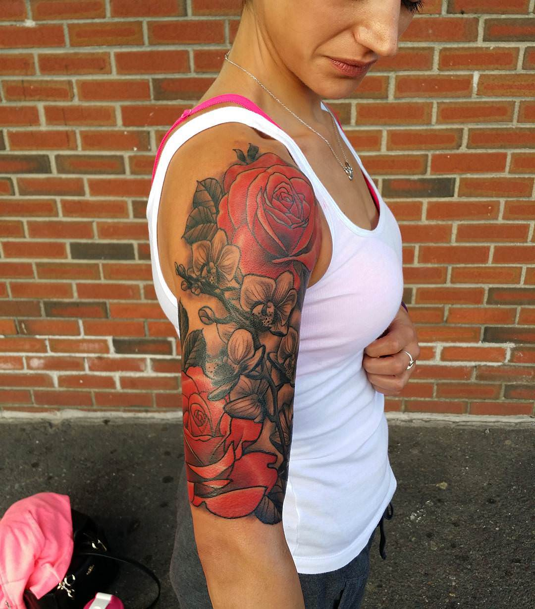 23 flower sleeve tattoo designs ideas design trends
