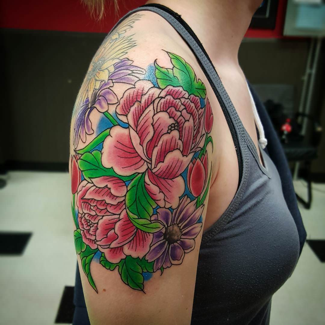 Awesome Flower Sleeve Tattoos