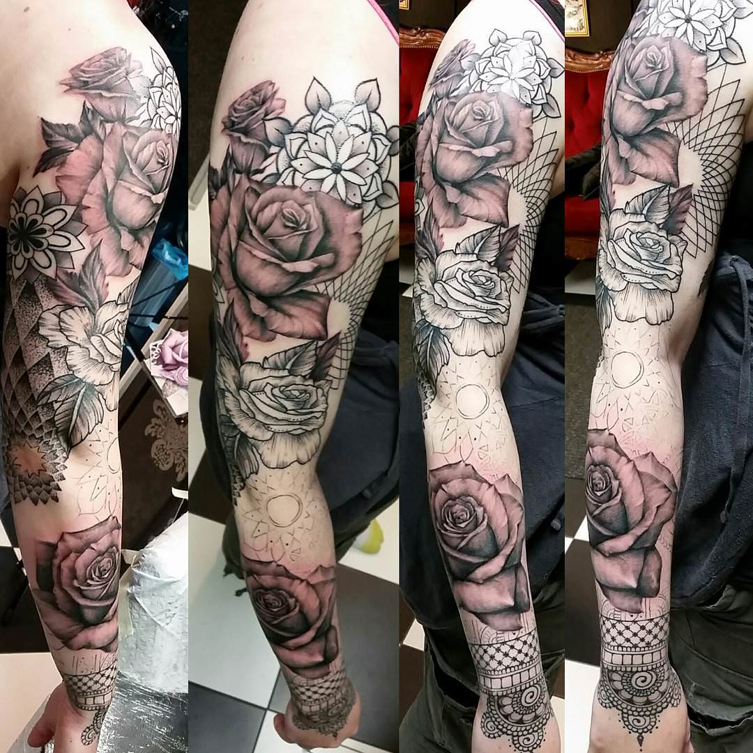 Black & White Flower Sleeve Tattoo