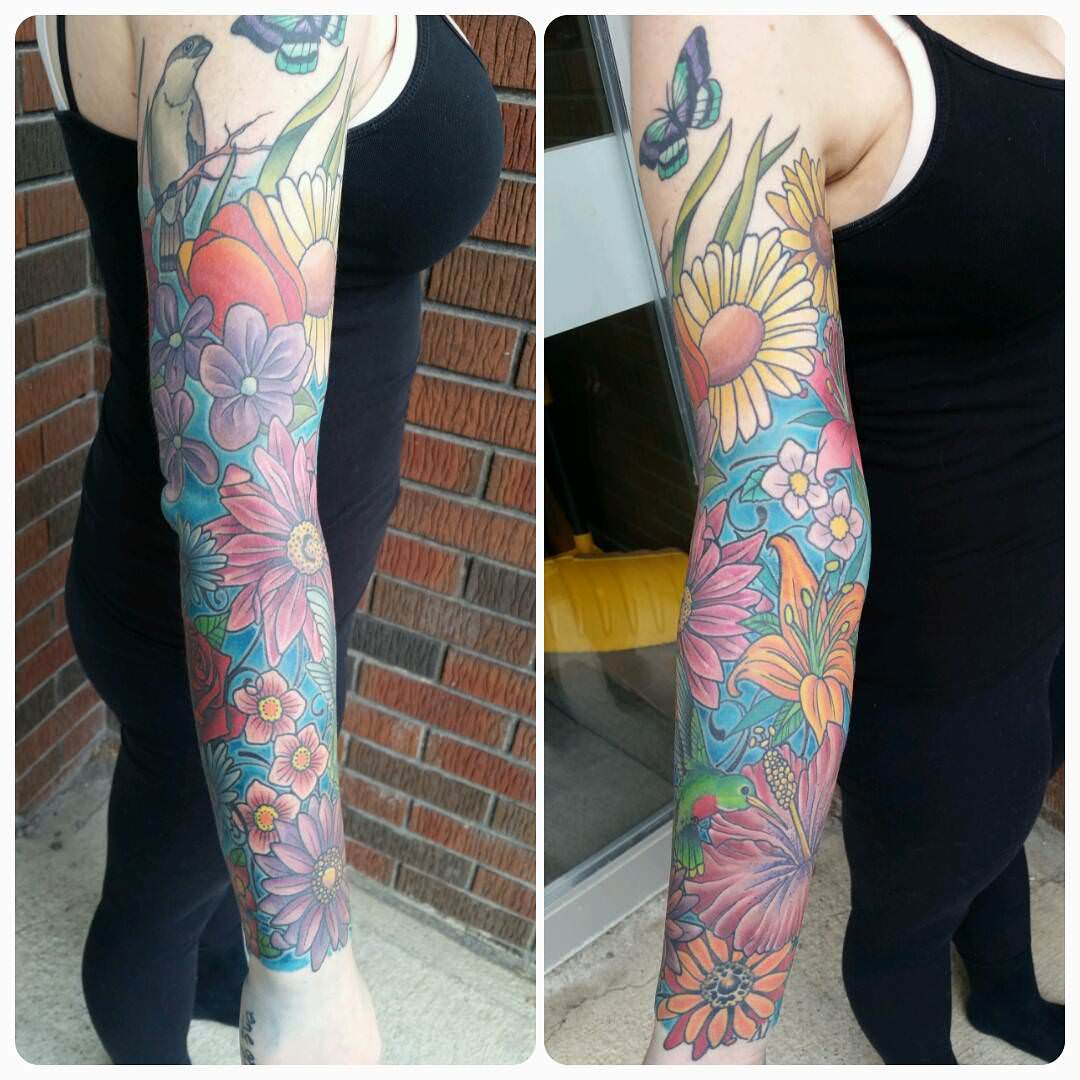 Colorful Flower Sleeve Tattoos