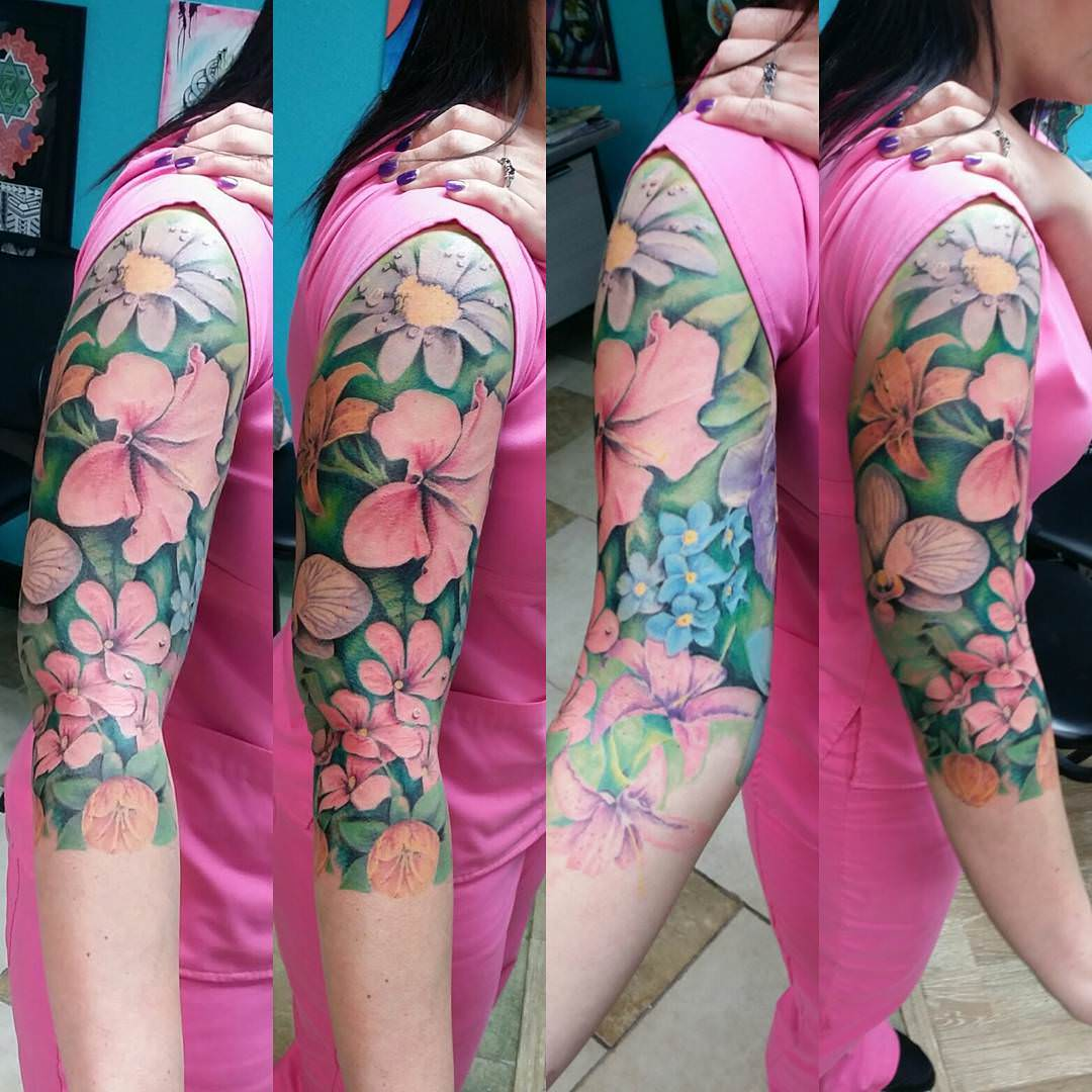 Excellent Flower Sleeve Tattoo