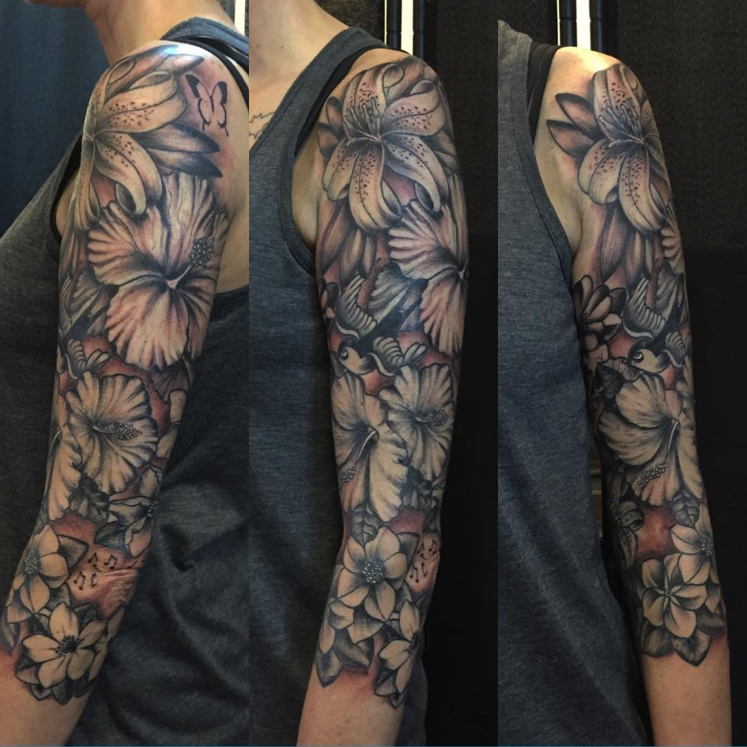 sleeve tattoos floral - photo #38