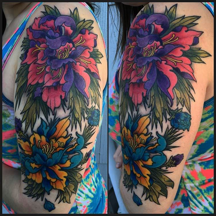 Mixed Color Flower Sleeve Tattoo