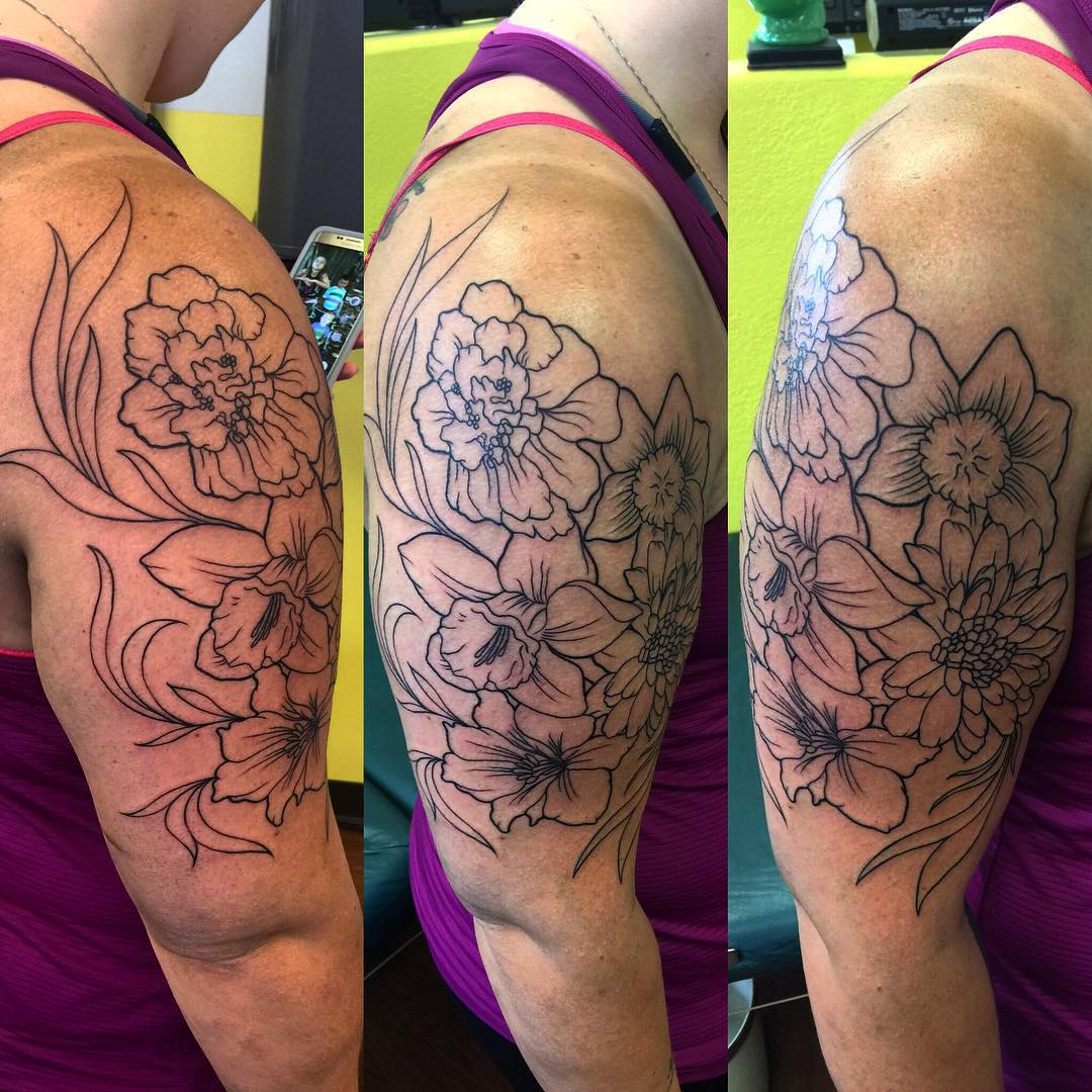 Natural Flower Sleeve Tattoo