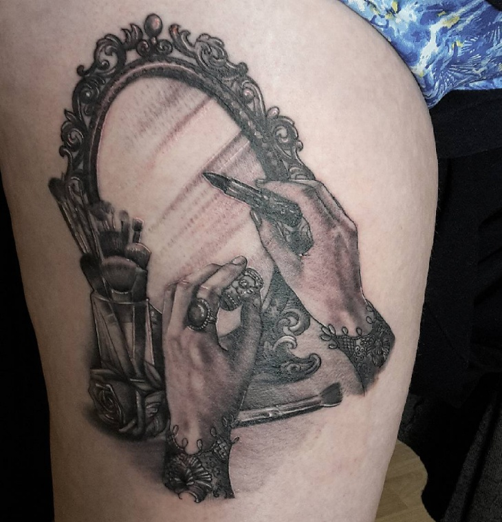 Black and Grey Mirror Tattoo