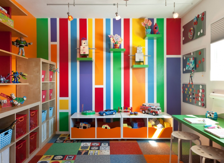 Colorful Mid Century Kids Play Room.