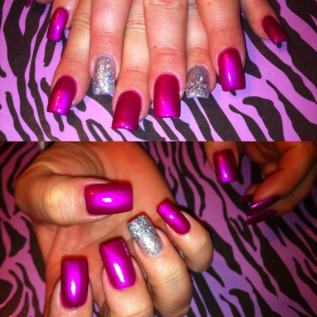 attractive pink and silver nail design