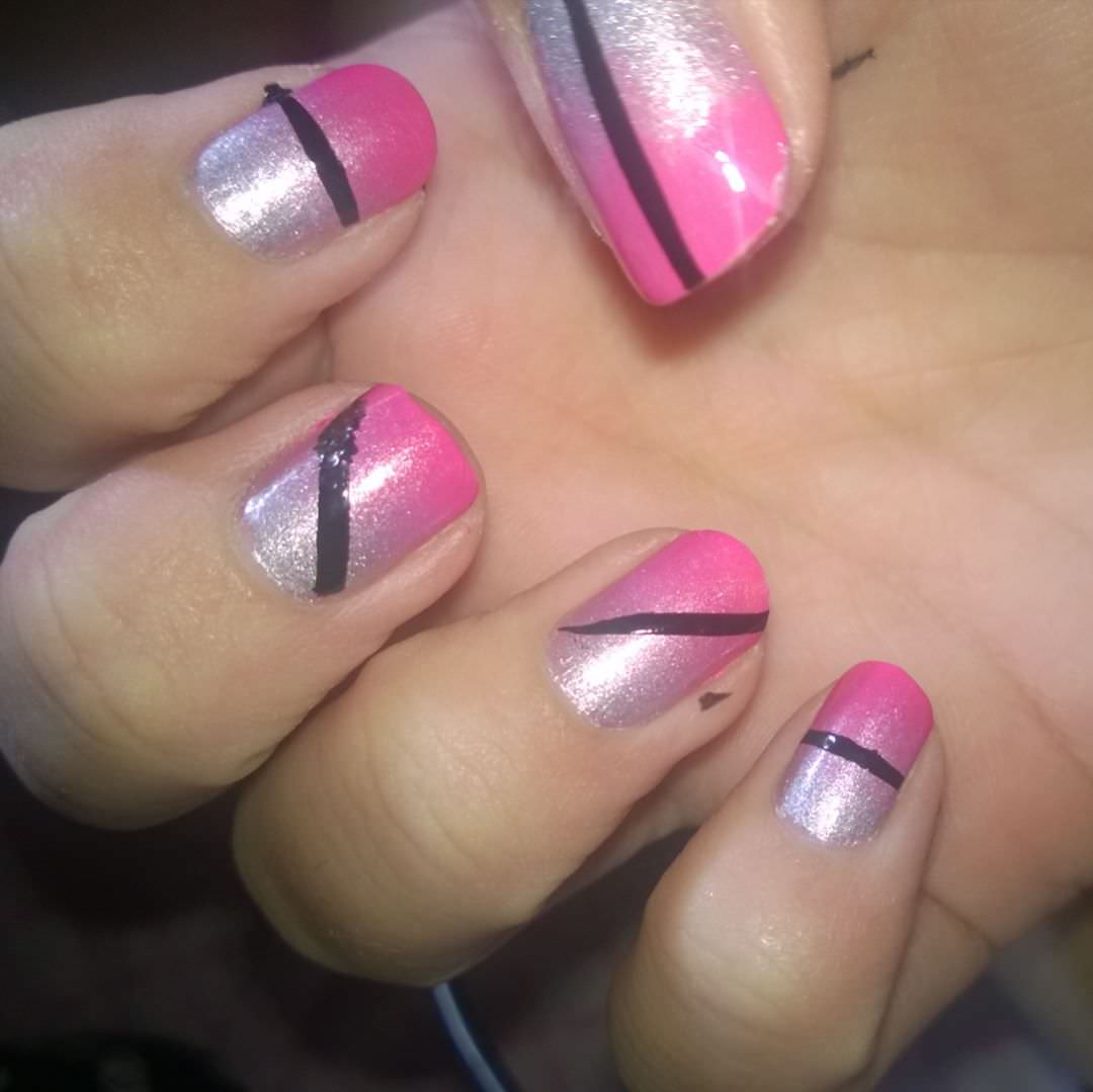 black line pink and silver nail design