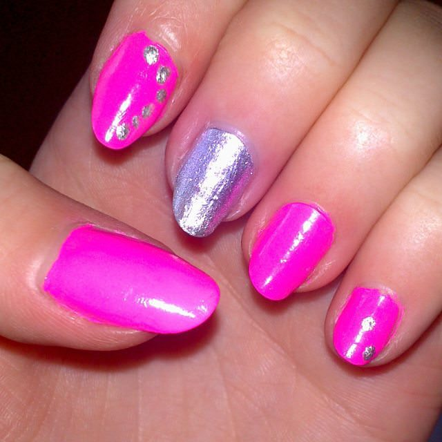 dark silver and pink nail design