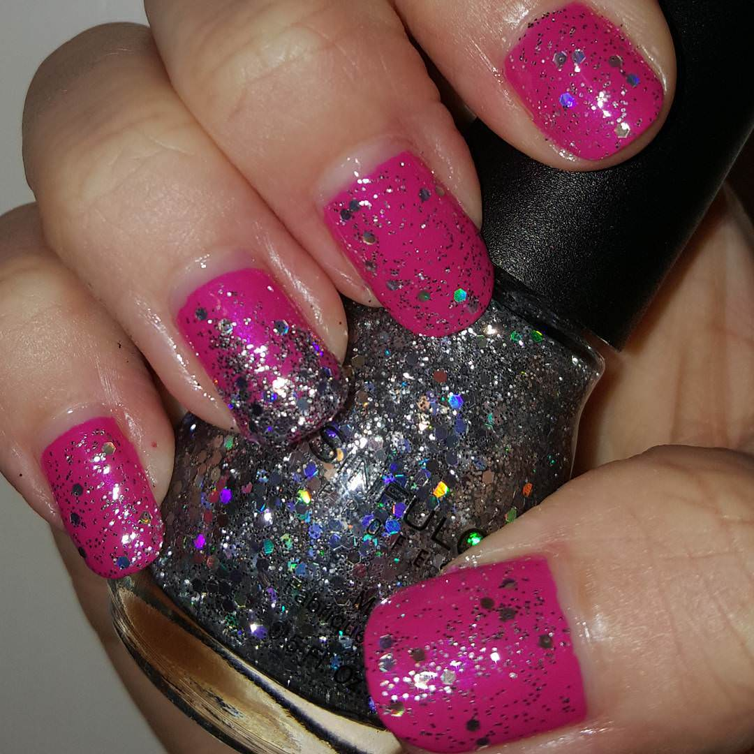 excellent pink and silver nail design