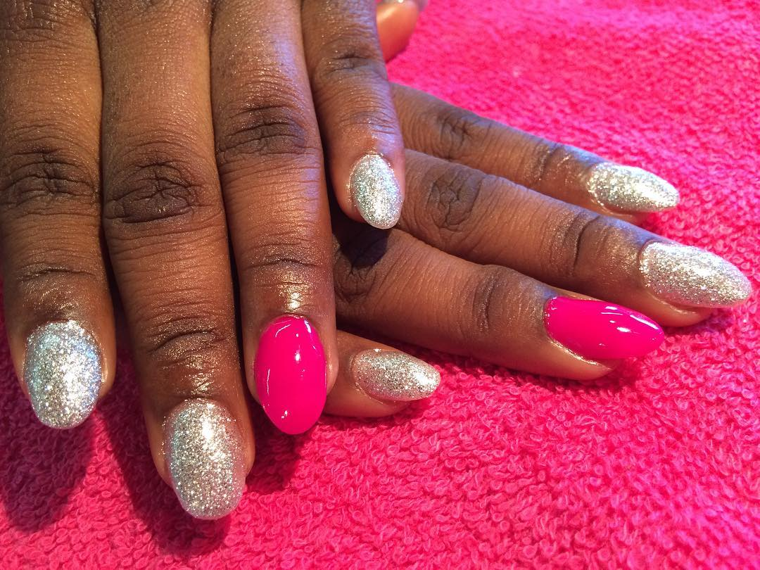 flashy pink and silver nail design