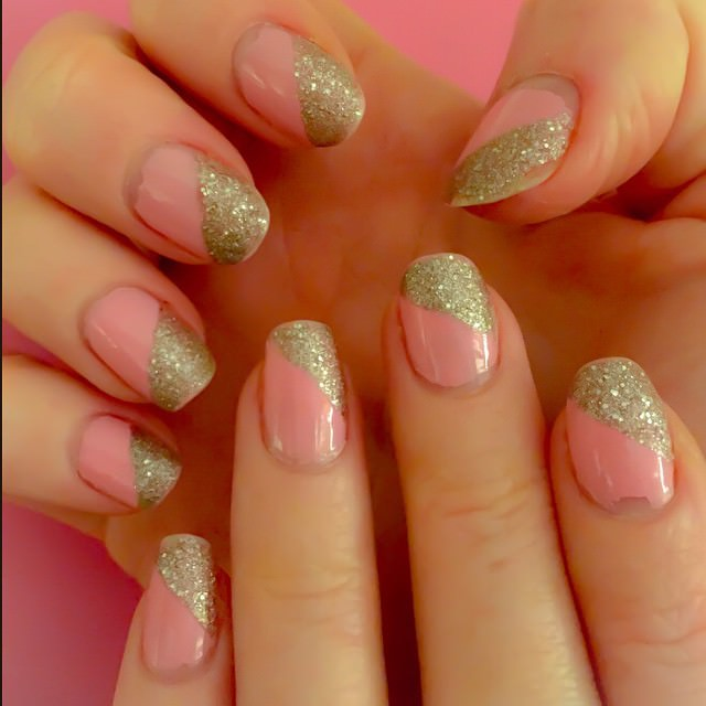 light pink and sliver nail design