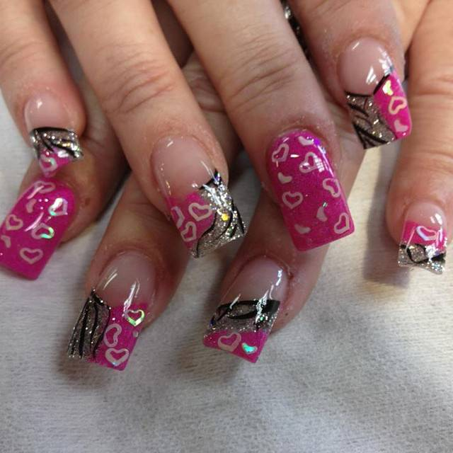 love pink and silver nail designs