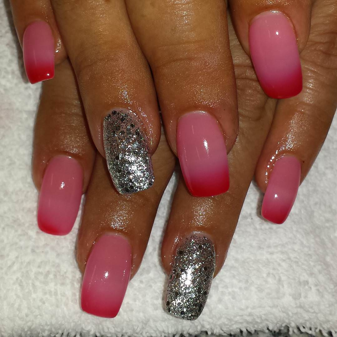 mixed pink and silver nail design