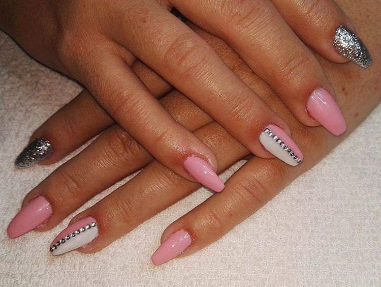 pink and silver nail design for sharp nails