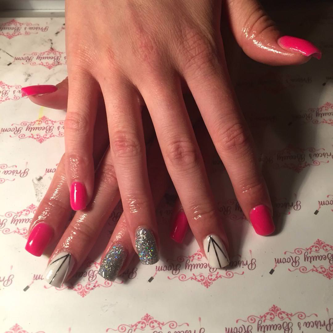 sharp pink and silver nail design
