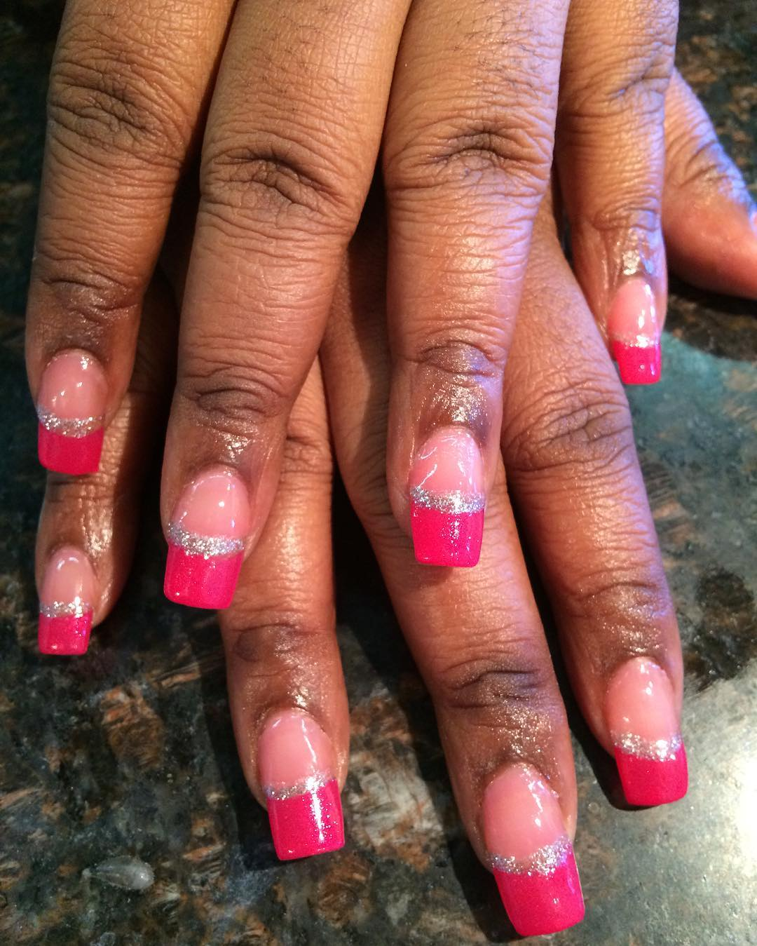 single line pink and silver nail design