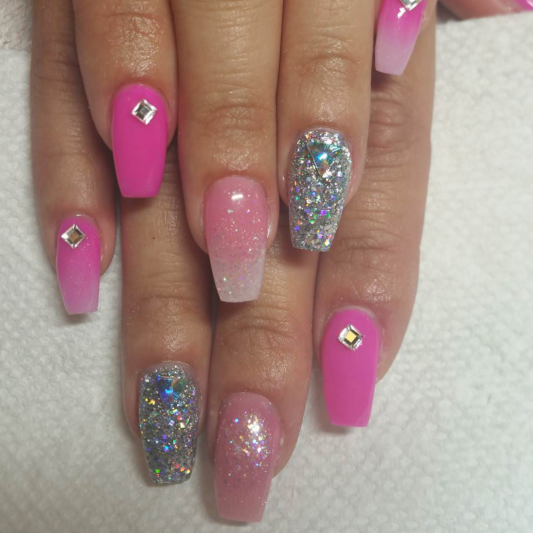stone light pink and silver nail design