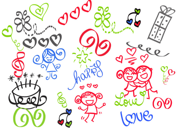 Girly Love Doodle Brushes