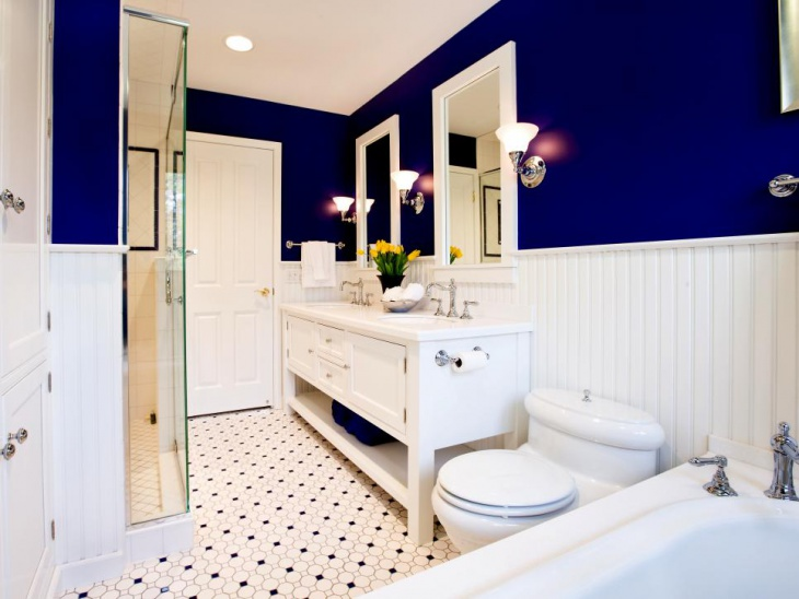 dark blue classic master bathroom