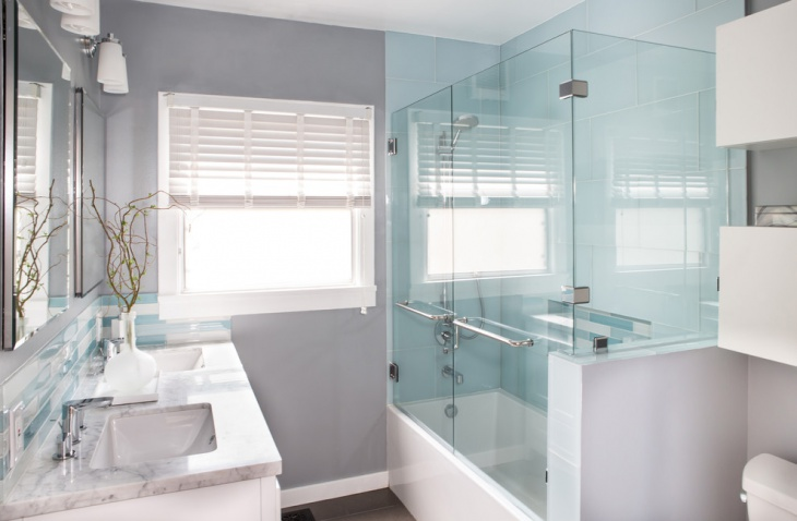 blue and white minimalist master bathroom