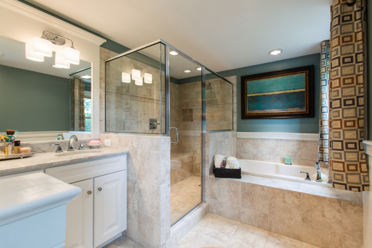 master bathroom with ceramic tiles