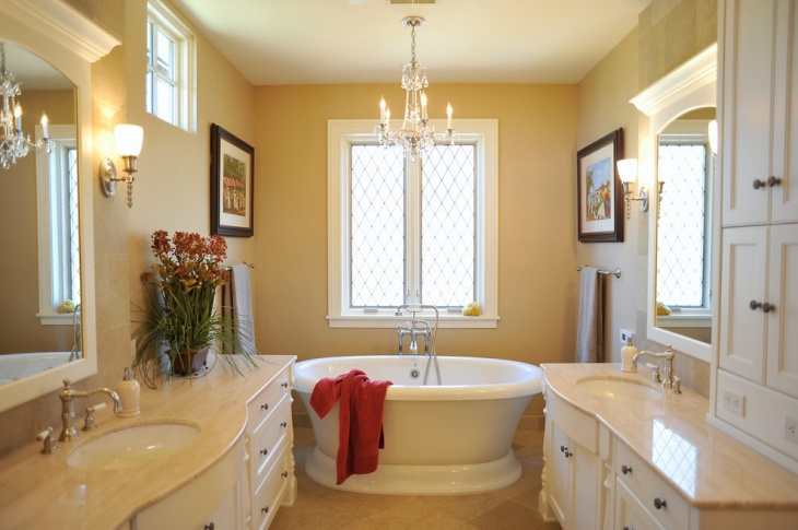traditional limestone master bathroom