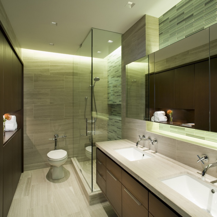 Small Master Bathroom With Wall And Floor Tiles