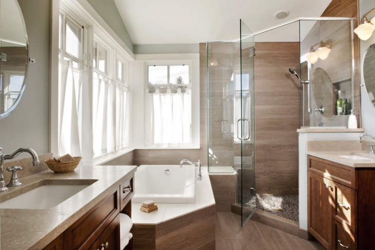 Minimalist Bathroom With Wooden Cabinets