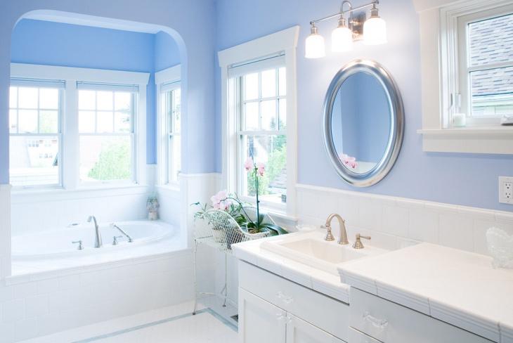 Blue Color Bathroom Paint Decorating Idea