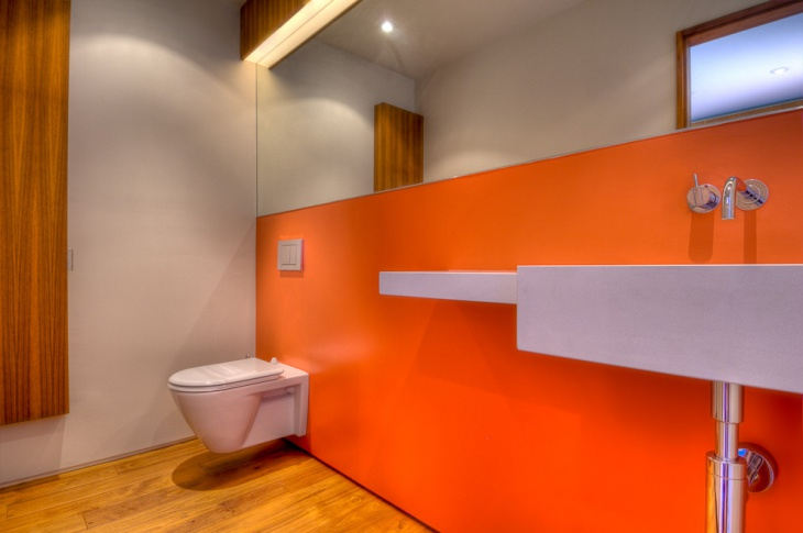 Orange Color Modern Bathroom Picture.