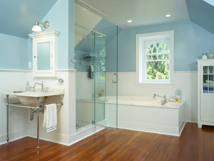 classic victorian bathroom with white and blue paint