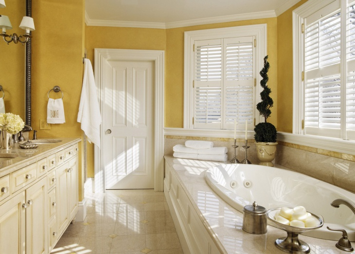 Yellow Color Master Bathroom Design