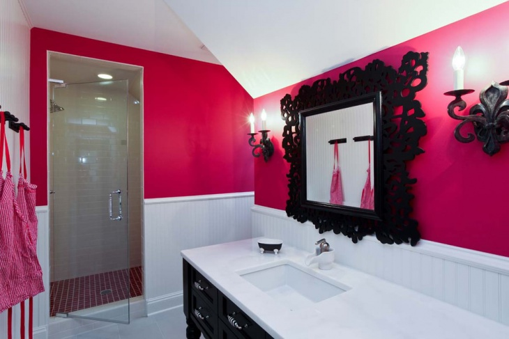 Amazing Pink Color Bathroom Paint.