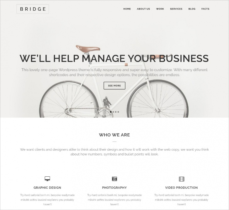 Bridge One Page WP Theme