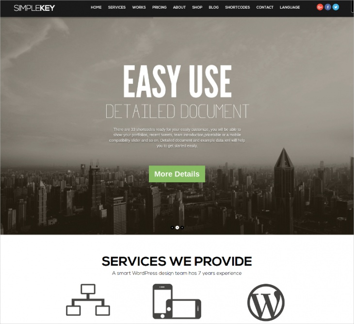 one page portfolio business theme