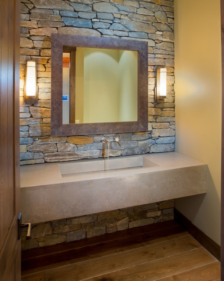simple vanity with stone walls - Vanity Design Ideas