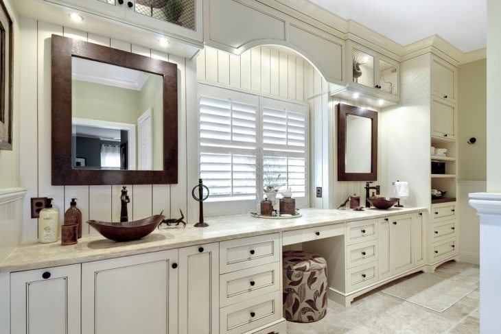 Transitional Bathroom With Modern Vanity Designs.