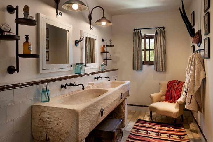 Mediterranean Bathroom With Vintage Vanity Idea