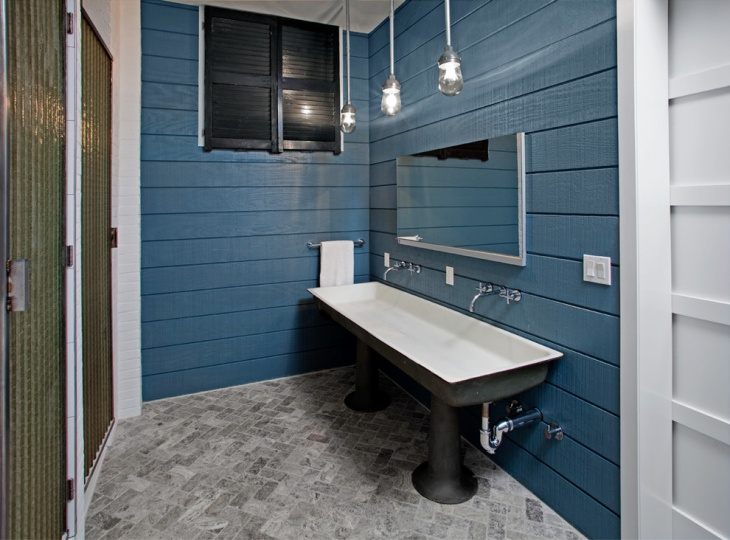 Industrial Bathroom Vanity With Blue Walls